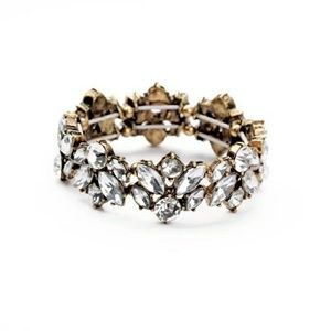 Clear Crystal Cluster Vintage Statement Bracelet